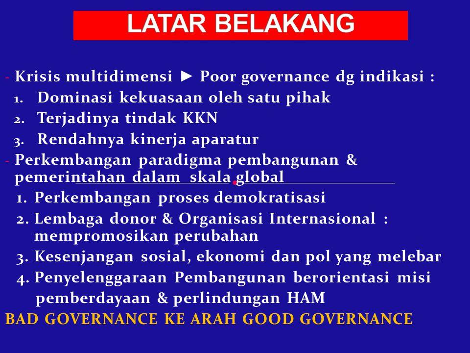 LATAR BELAKANG Krisis multidimensi ► Poor governance dg indikasi :