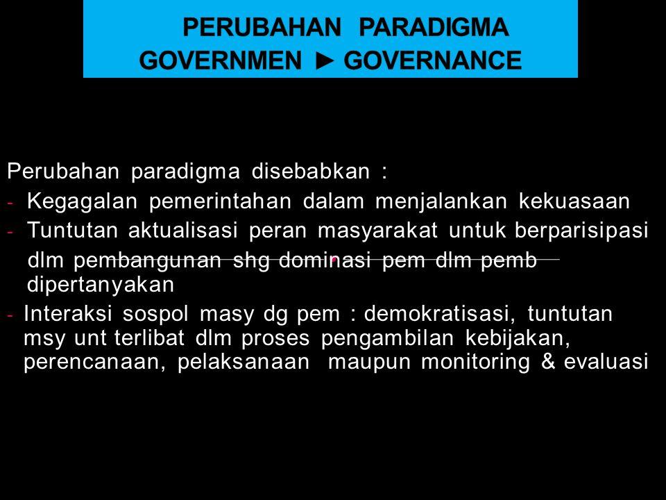 PERUBAHAN PARADIGMA GOVERNMEN ► GOVERNANCE