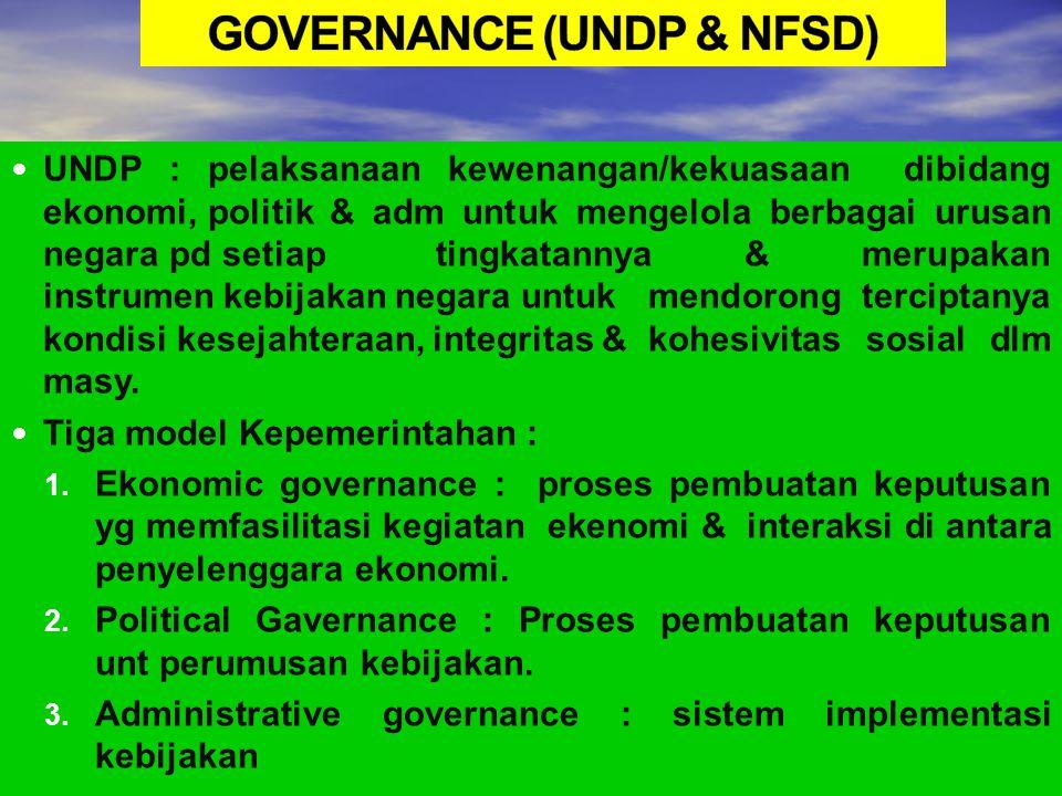 GOVERNANCE (UNDP & NFSD)