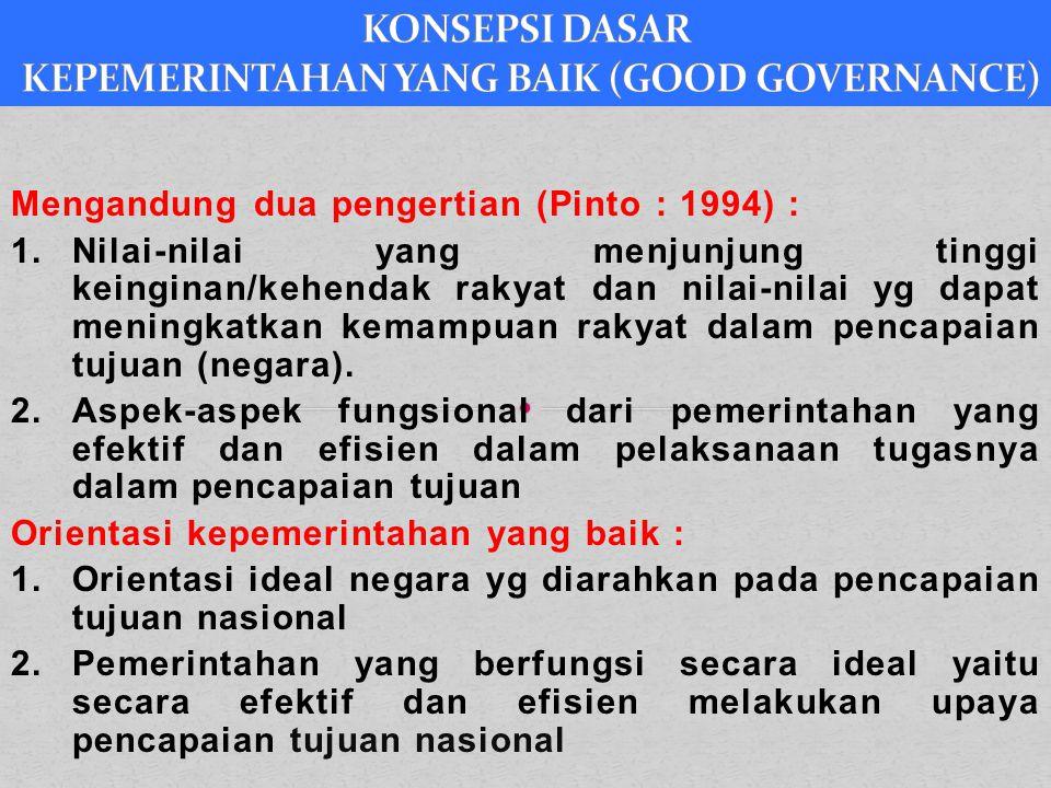 KONSEPSI DASAR KEPEMERINTAHAN YANG BAIK (GOOD GOVERNANCE)