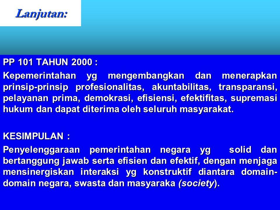 Lanjutan: PP 101 TAHUN 2000 :