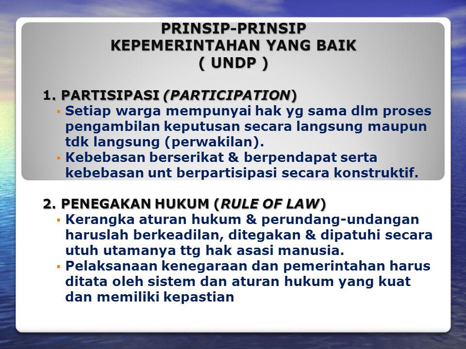 PRINSIP-PRINSIP KEPEMERINTAHAN YANG BAIK ( UNDP )