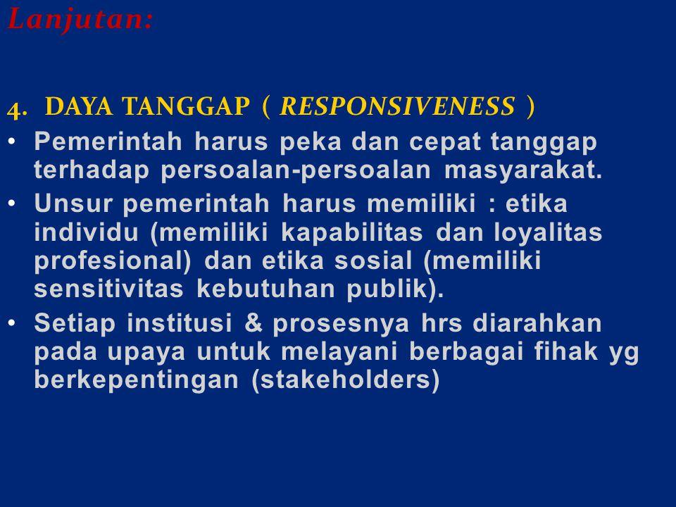 Lanjutan: 4. DAYA TANGGAP ( RESPONSIVENESS )