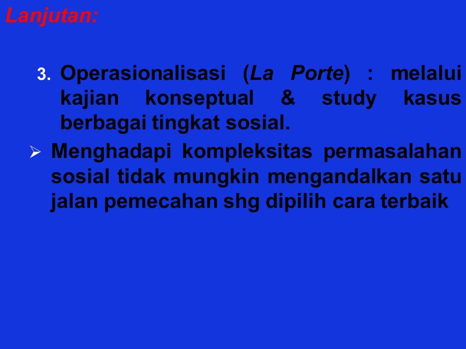 Lanjutan: Operasionalisasi (La Porte) : melalui kajian konseptual & study kasus berbagai tingkat sosial.