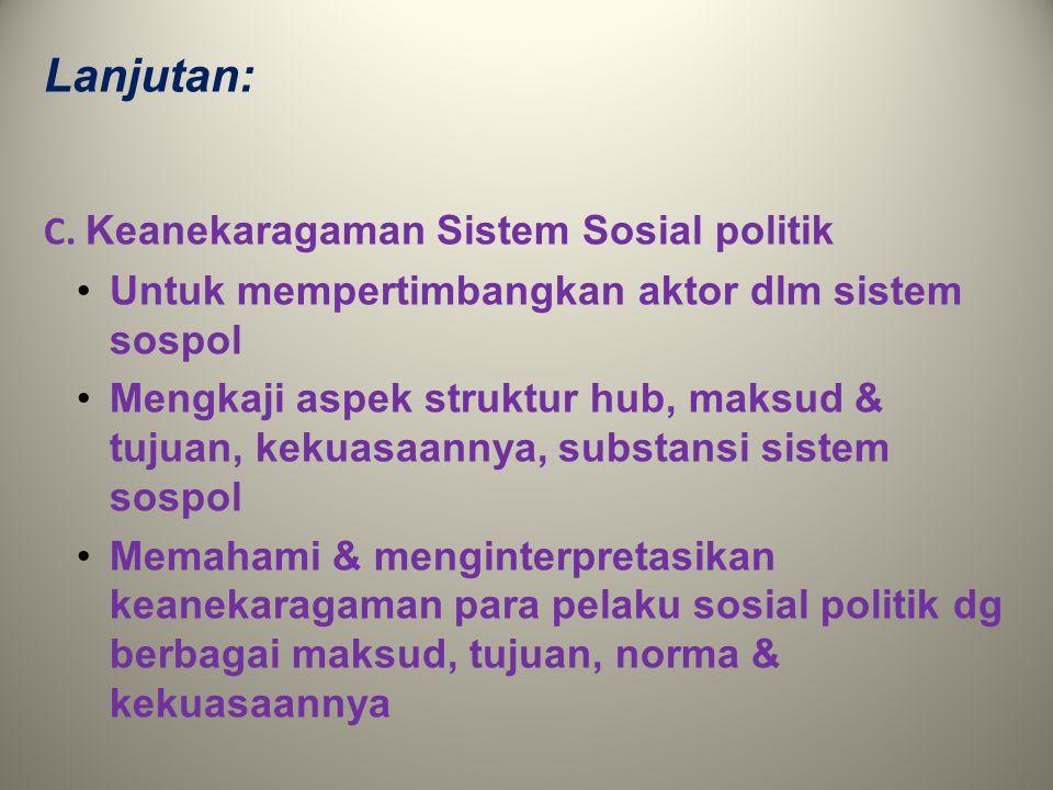 Lanjutan: C. Keanekaragaman Sistem Sosial politik