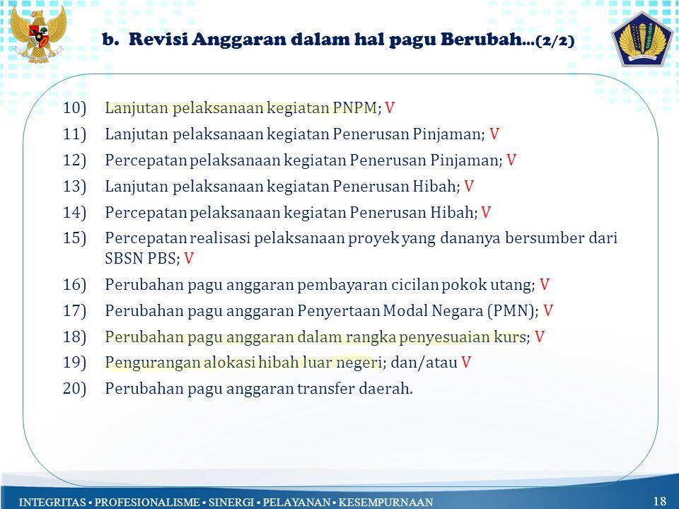 b. Revisi Anggaran dalam hal pagu Berubah...(2/2)