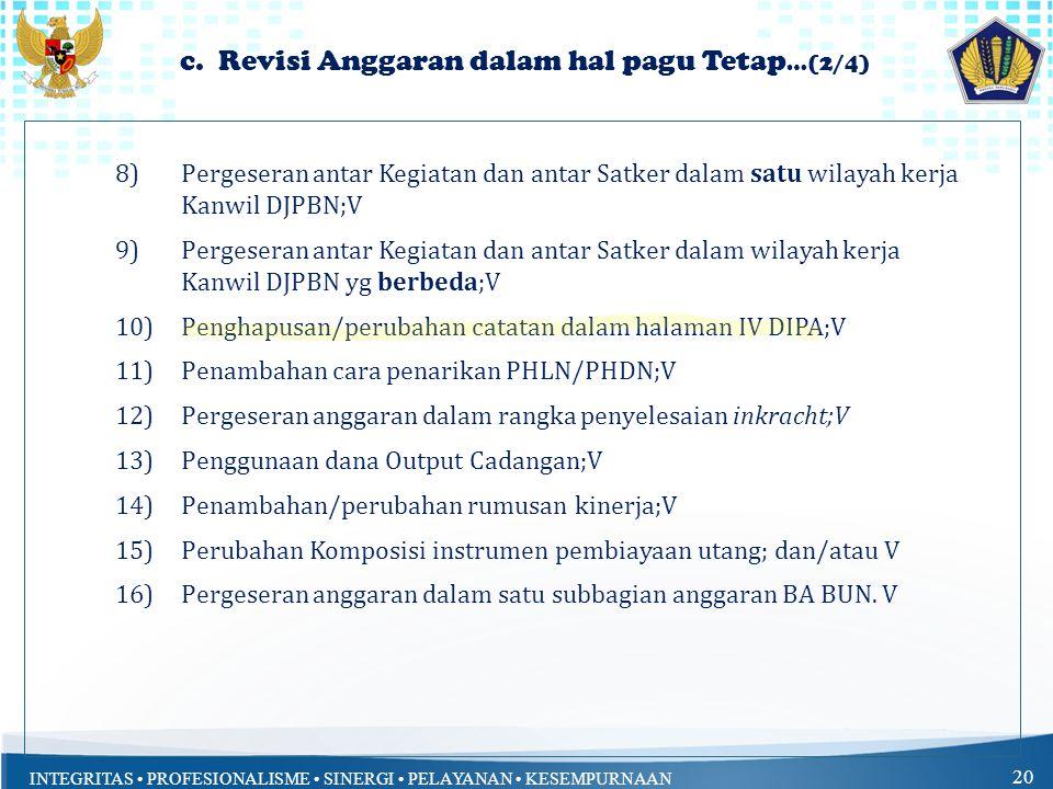 c. Revisi Anggaran dalam hal pagu Tetap…(2/4)