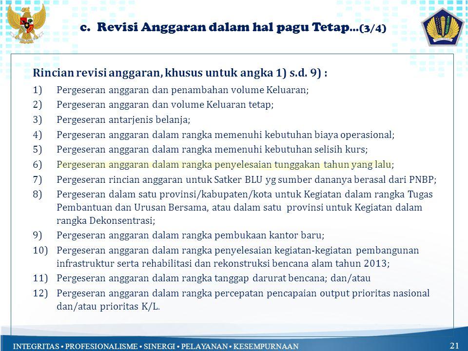 c. Revisi Anggaran dalam hal pagu Tetap…(3/4)
