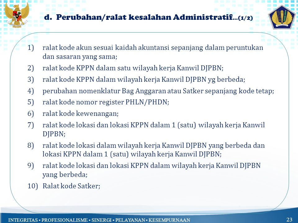 d. Perubahan/ralat kesalahan Administratif…(1/2)