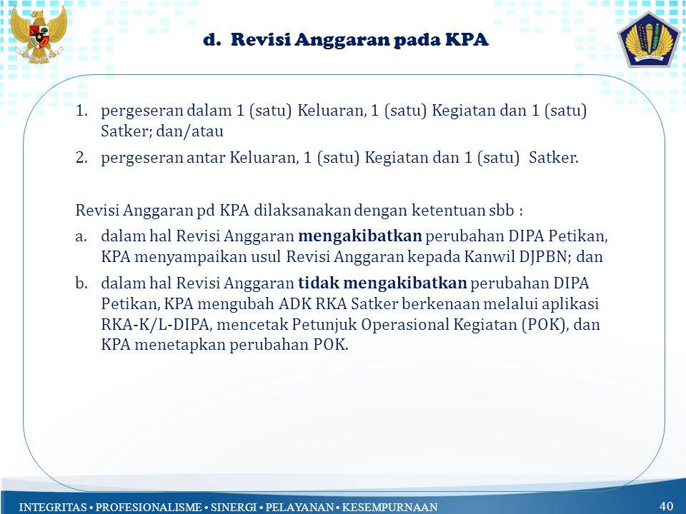 d. Revisi Anggaran pada KPA