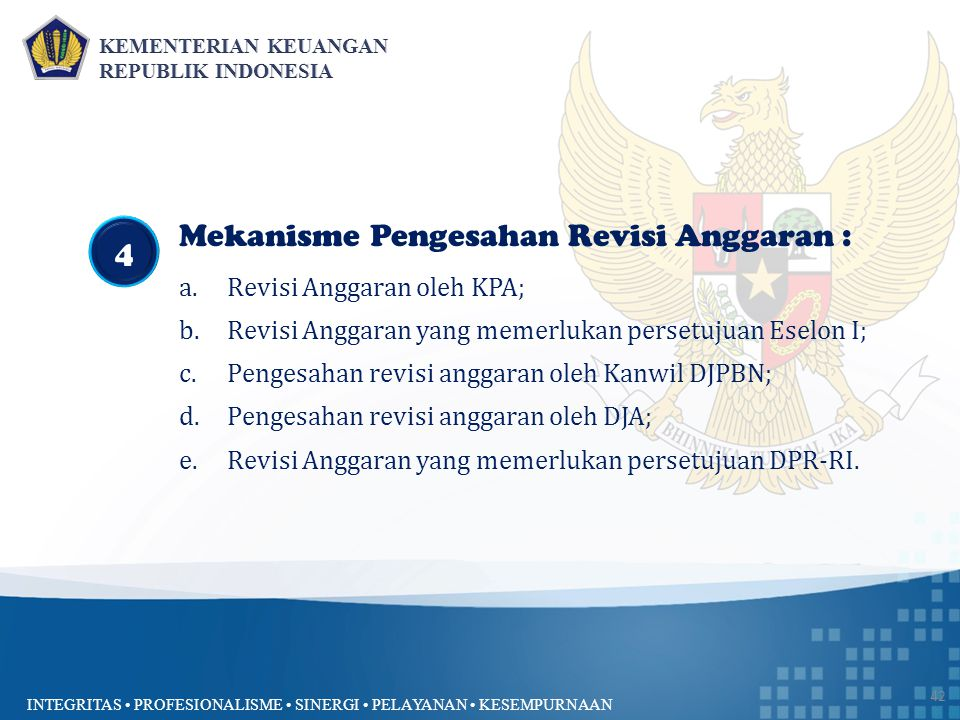 Mekanisme Pengesahan Revisi Anggaran : 4