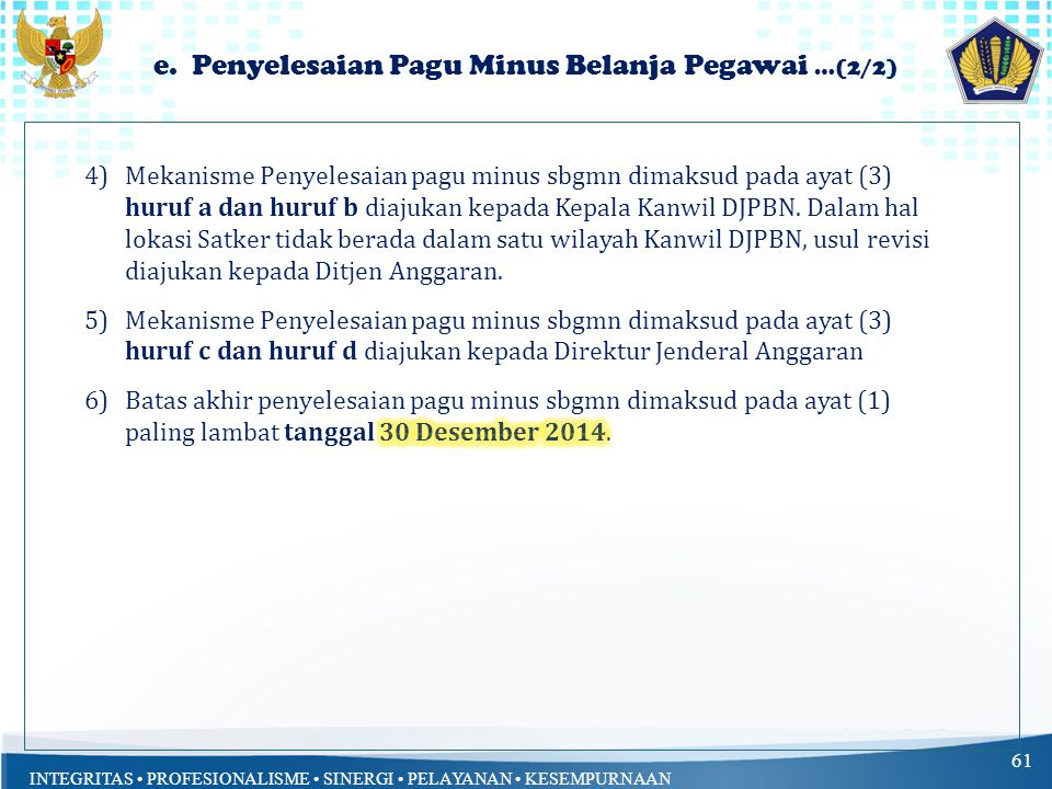 e. Penyelesaian Pagu Minus Belanja Pegawai …(2/2)