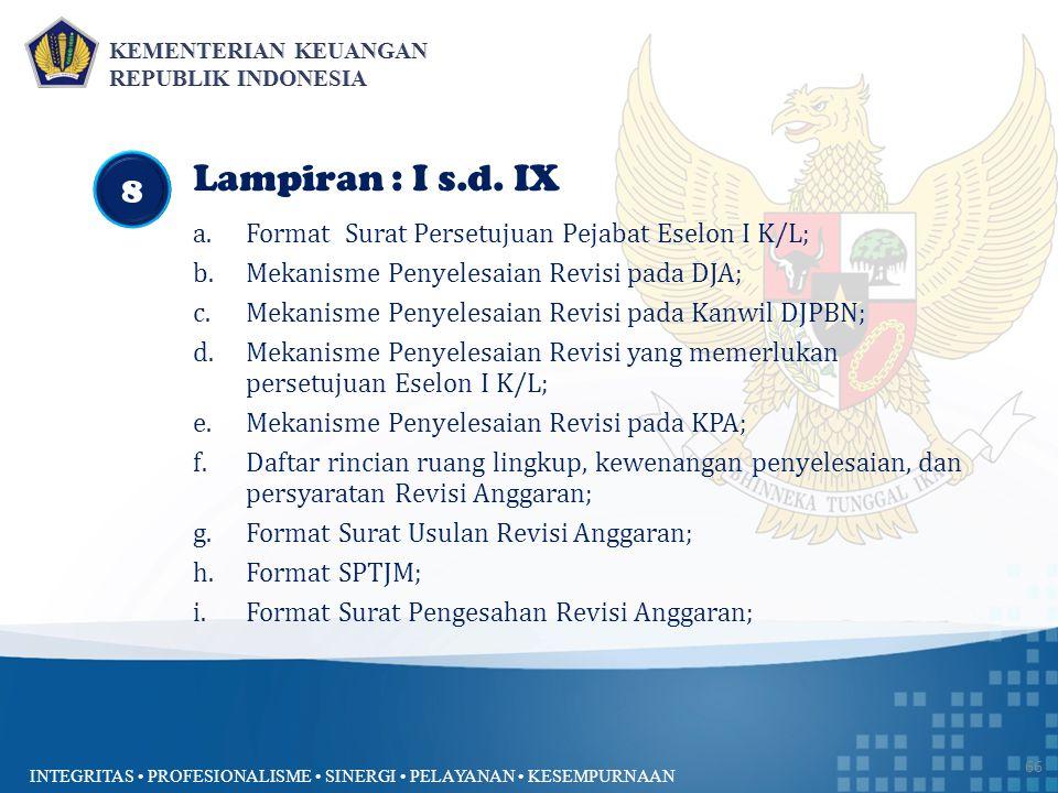 Lampiran : I s.d. IX 8 Format Surat Persetujuan Pejabat Eselon I K/L;