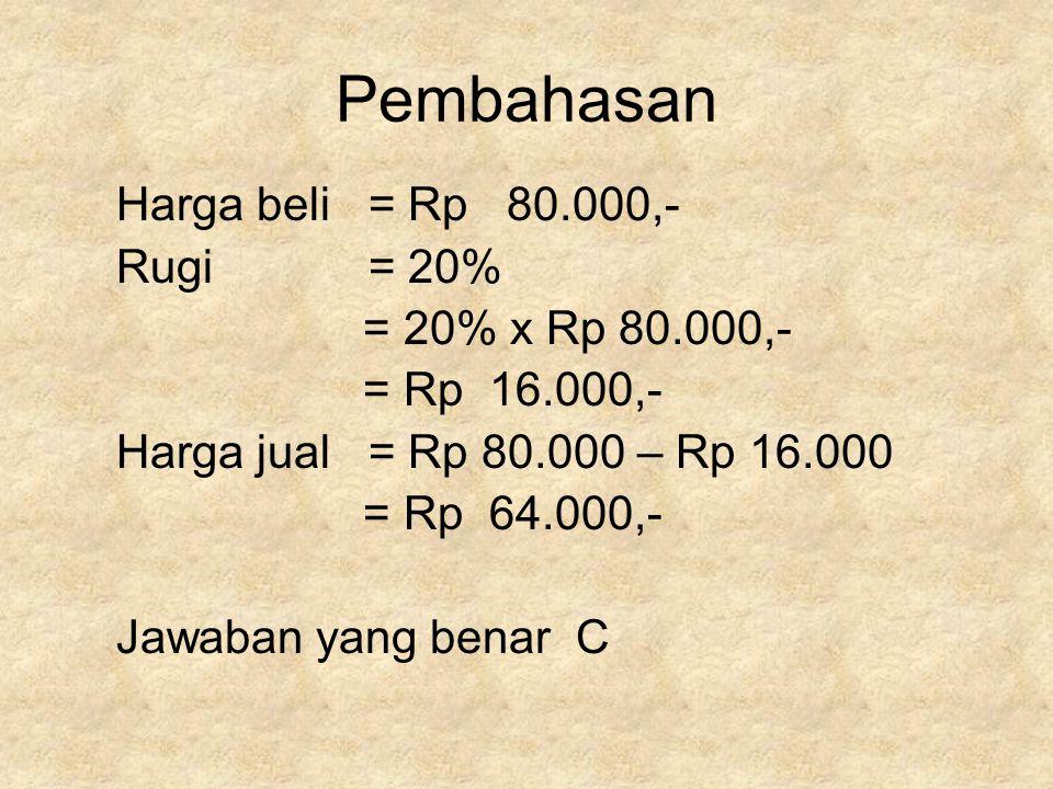 Pembahasan Harga beli = Rp 80.000,- Rugi = 20% = 20% x Rp 80.000,-