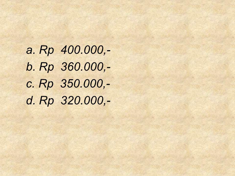 a. Rp 400.000,- b. Rp 360.000,- c. Rp 350.000,- d. Rp 320.000,-