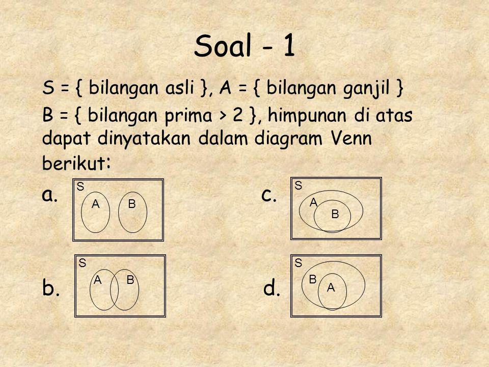 Soal - 1 a. c. b. d. S = { bilangan asli }, A = { bilangan ganjil }