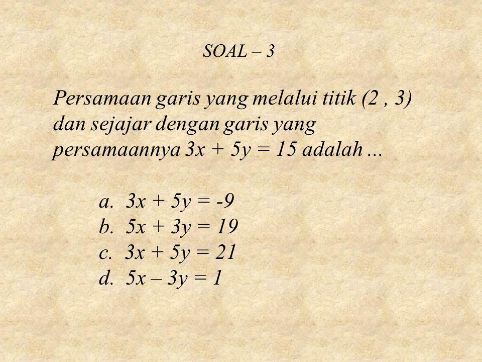 SOAL – 3 Persamaan garis yang melalui titik (2 , 3) dan sejajar dengan garis yang persamaannya 3x + 5y = 15 adalah ...