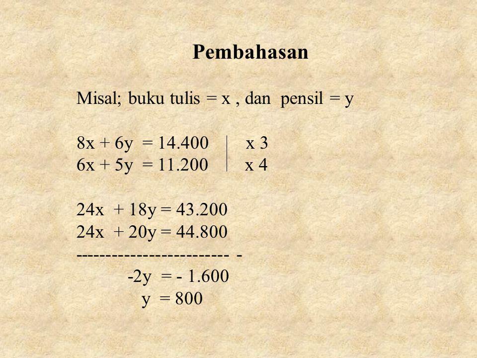 Pembahasan Misal; buku tulis = x , dan pensil = y 8x + 6y = 14.400 x 3