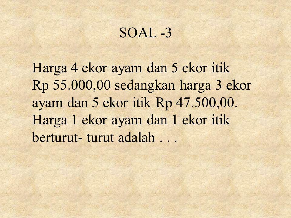 SOAL -3 Harga 4 ekor ayam dan 5 ekor itik.