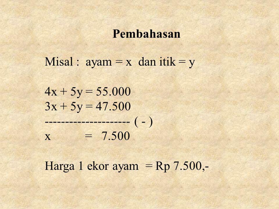Pembahasan Misal : ayam = x dan itik = y. 4x + 5y = 55.000. 3x + 5y = 47.500. --------------------- ( - )