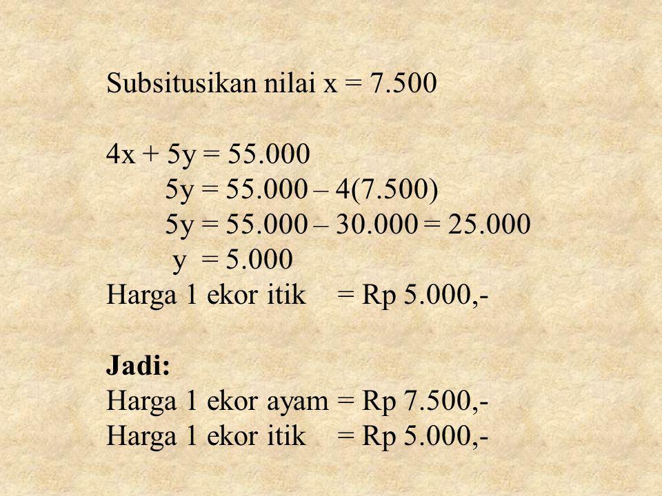 Subsitusikan nilai x = 7.500 4x + 5y = 55.000. 5y = 55.000 – 4(7.500) 5y = 55.000 – 30.000 = 25.000.