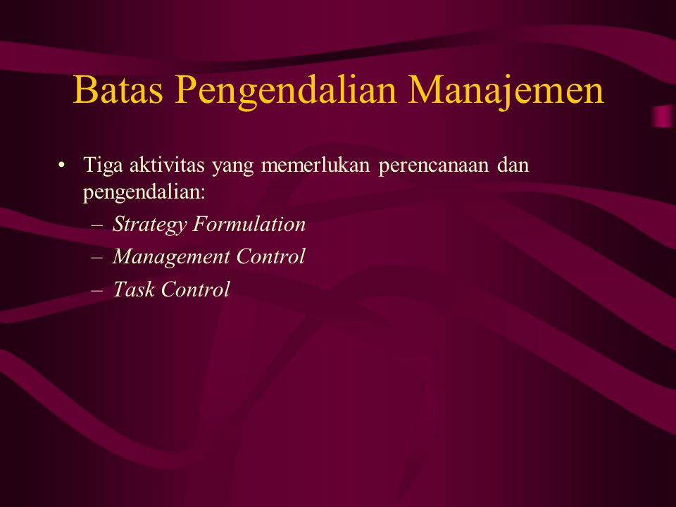 Batas Pengendalian Manajemen