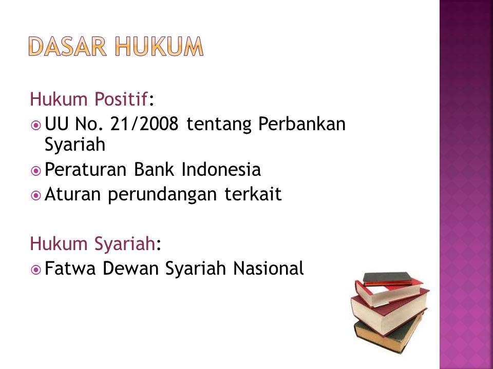 DASAR HUKUM Hukum Positif: UU No. 21/2008 tentang Perbankan Syariah