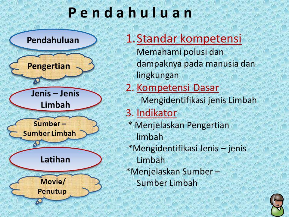 P e n d a h u l u a n Standar kompetensi Kompetensi Dasar Indikator