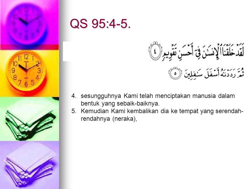 QS 95:4-5. sesungguhnya Kami telah menciptakan manusia dalam bentuk yang sebaik-baiknya.