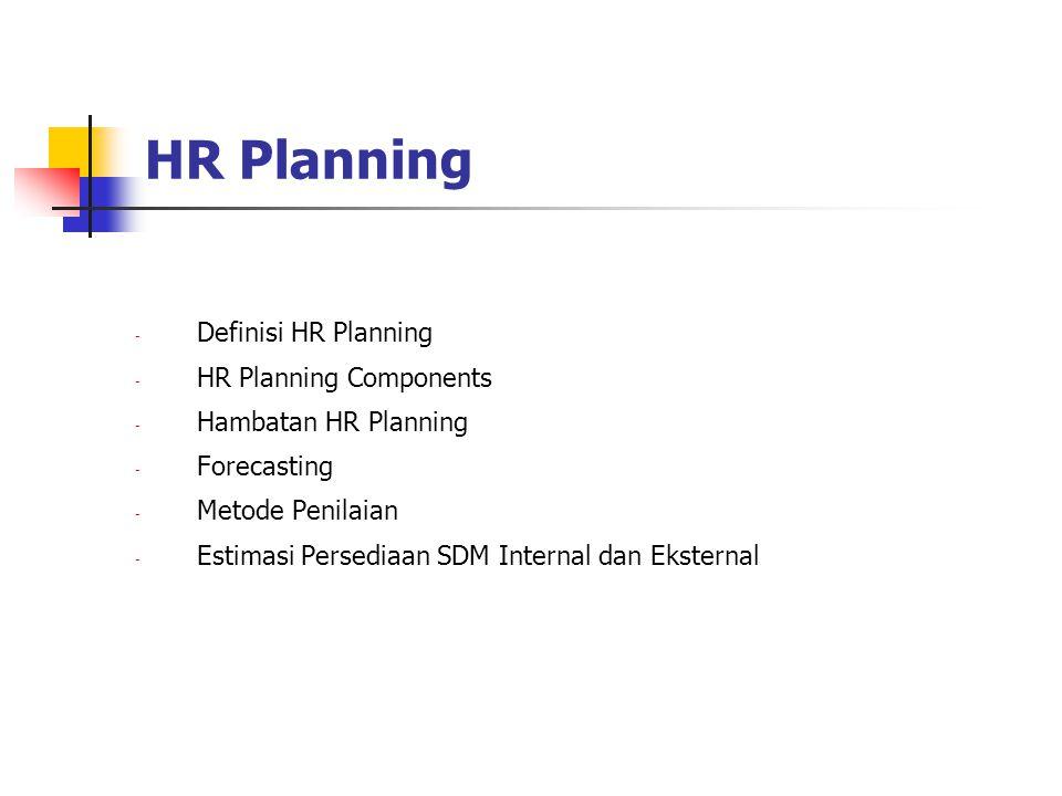 HR Planning Definisi HR Planning HR Planning Components