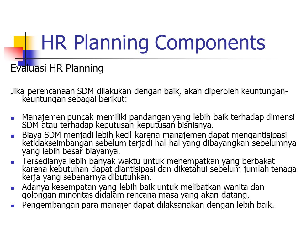 HR Planning Components