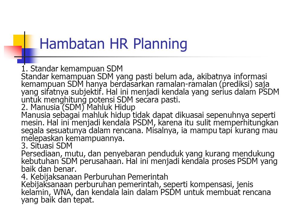 Hambatan HR Planning