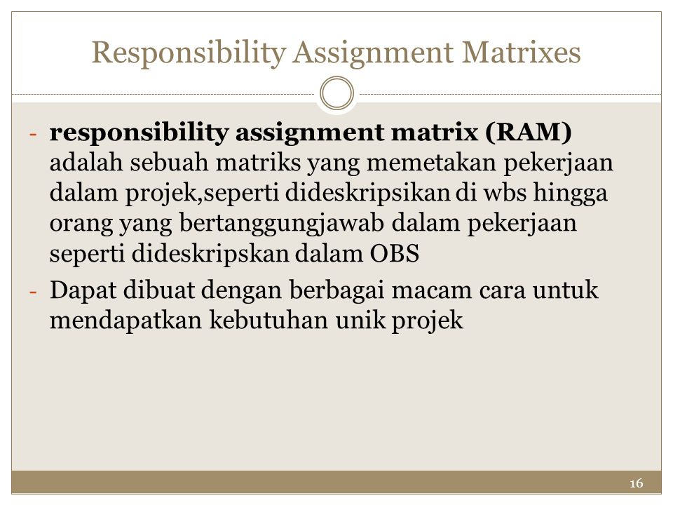 Responsibility Assignment Matrixes
