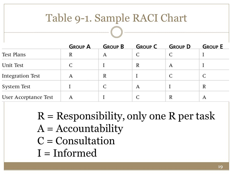 Table 9-1. Sample RACI Chart