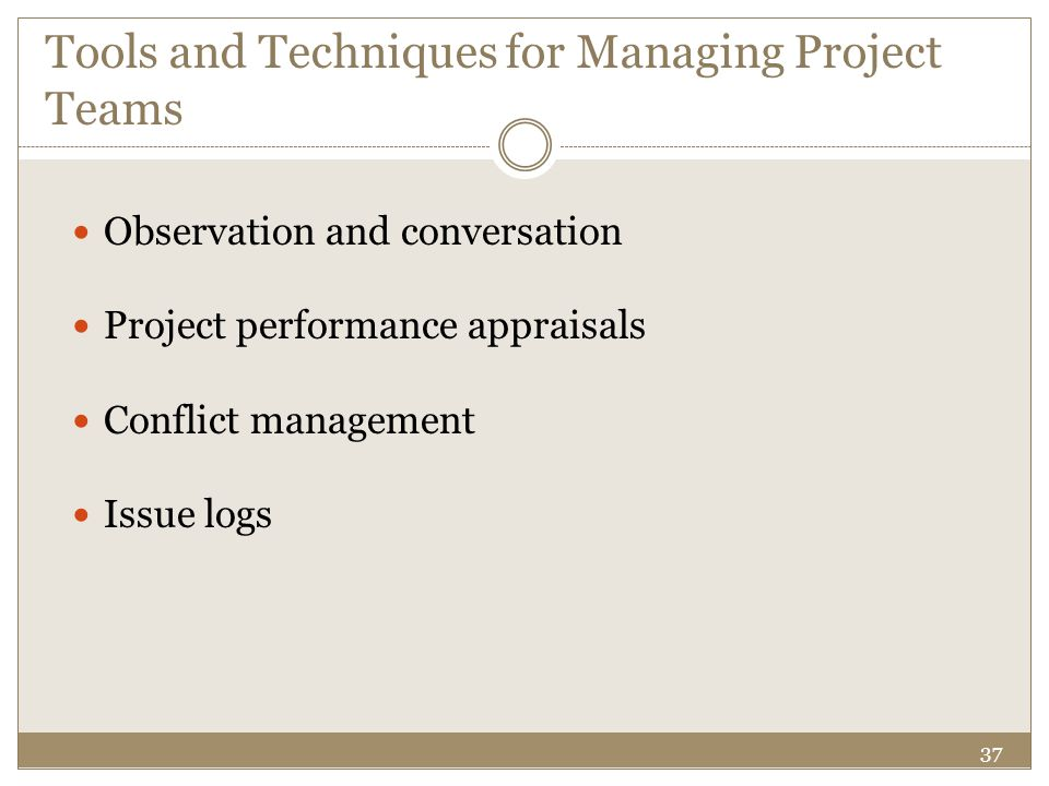 Tools and Techniques for Managing Project Teams