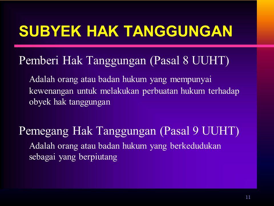 SUBYEK HAK TANGGUNGAN Pemberi Hak Tanggungan (Pasal 8 UUHT)