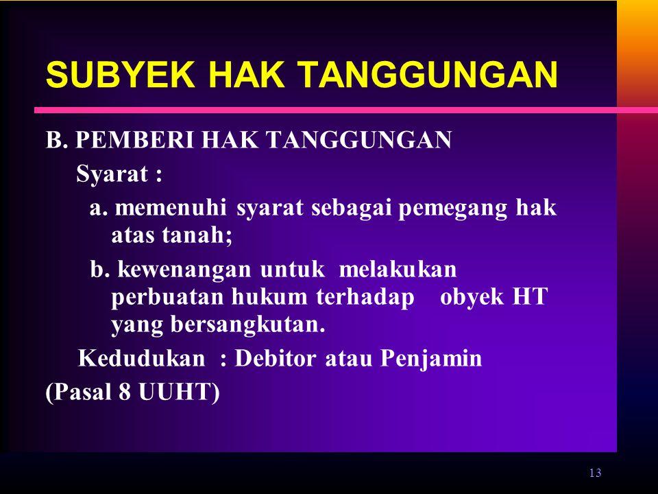 SUBYEK HAK TANGGUNGAN B. PEMBERI HAK TANGGUNGAN Syarat :