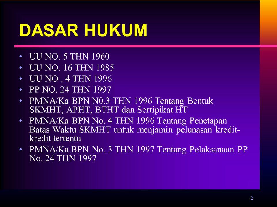 DASAR HUKUM UU NO. 5 THN 1960 UU NO. 16 THN 1985 UU NO . 4 THN 1996