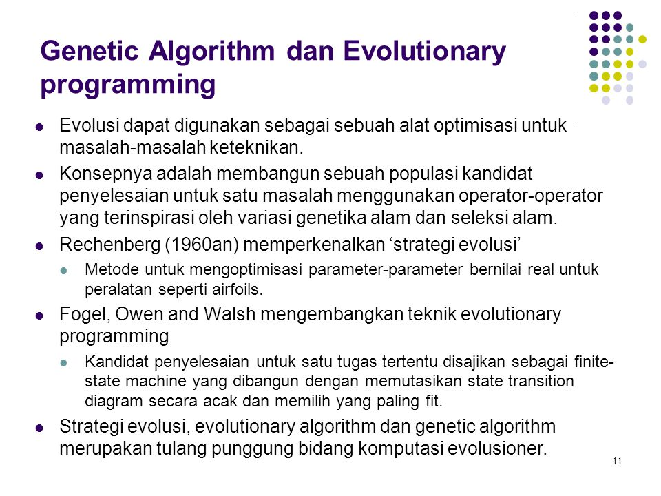 Genetic Algorithm dan Evolutionary programming