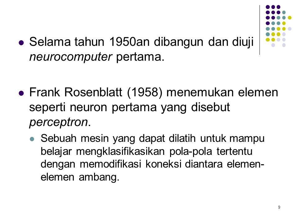 Selama tahun 1950an dibangun dan diuji neurocomputer pertama.