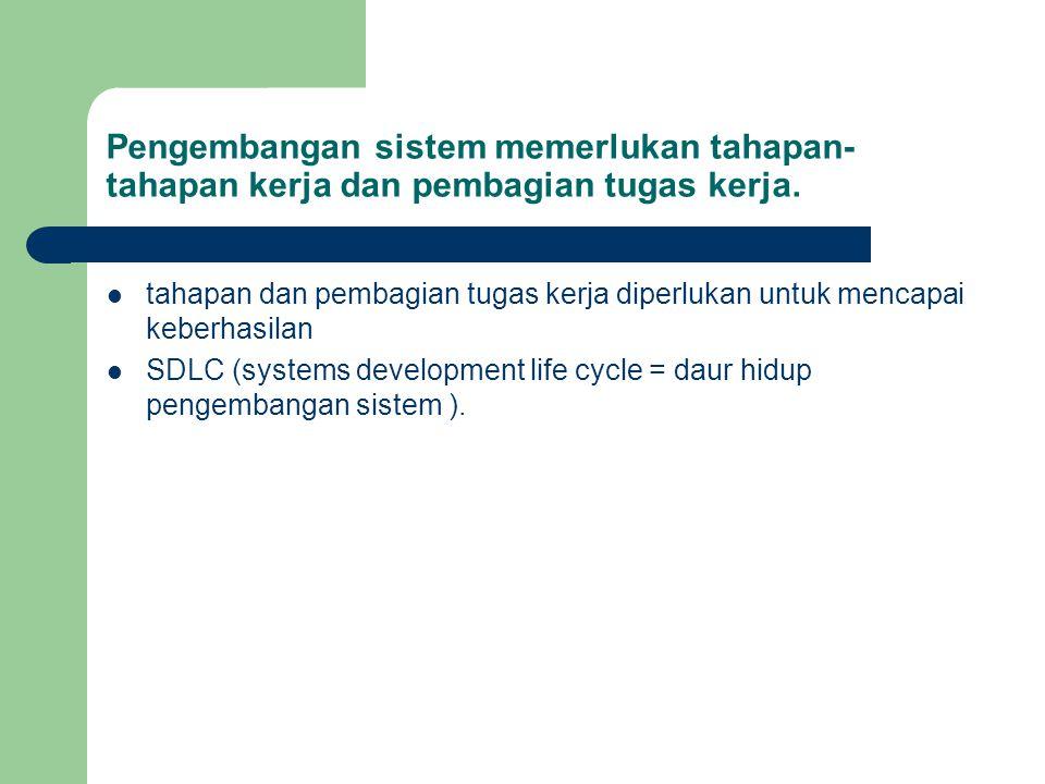 Pengembangan sistem memerlukan tahapan-tahapan kerja dan pembagian tugas kerja.