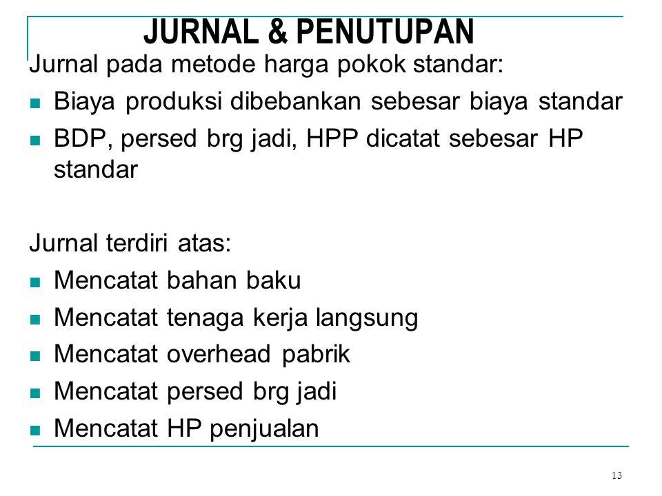 JURNAL & PENUTUPAN Jurnal pada metode harga pokok standar:
