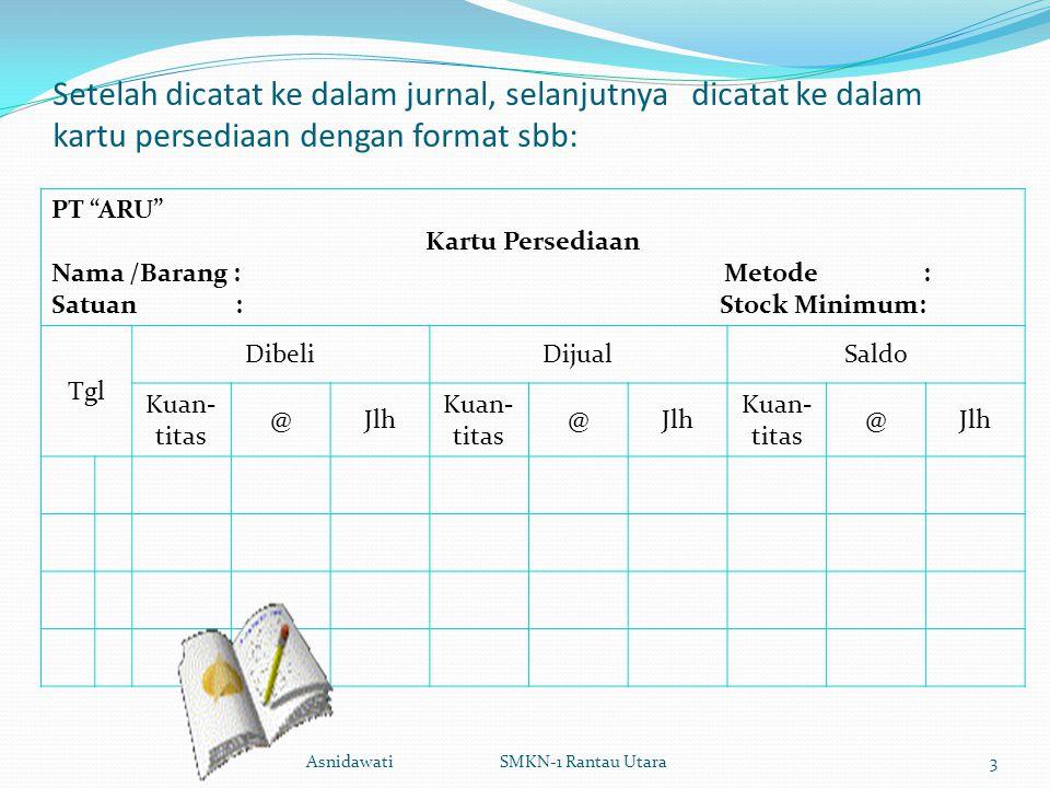 Setelah dicatat ke dalam jurnal, selanjutnya dicatat ke dalam kartu persediaan dengan format sbb: