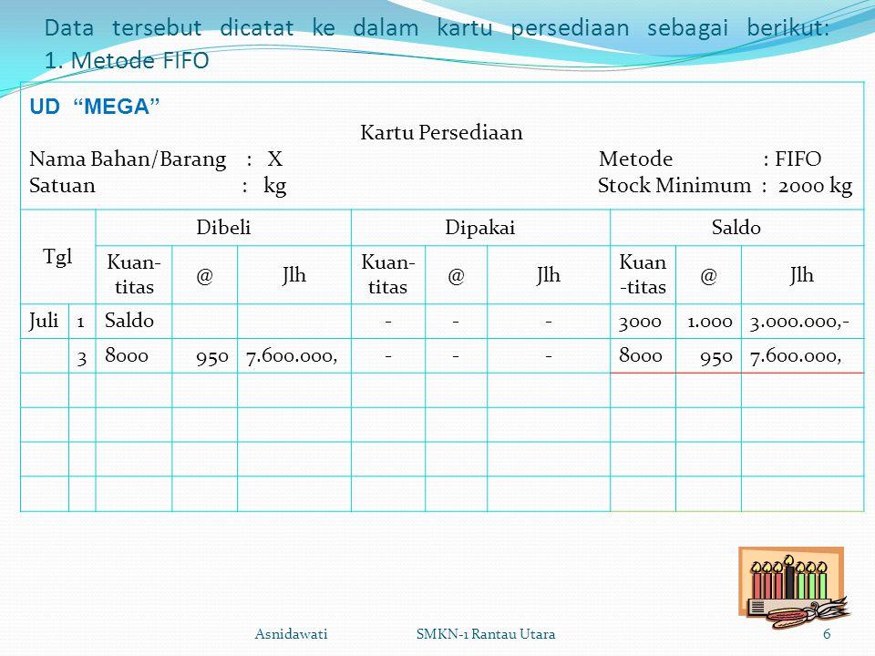 Data tersebut dicatat ke dalam kartu persediaan sebagai berikut: 1