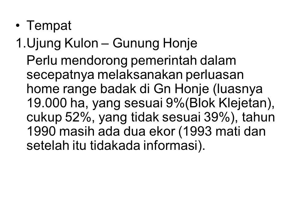 Tempat 1.Ujung Kulon – Gunung Honje.