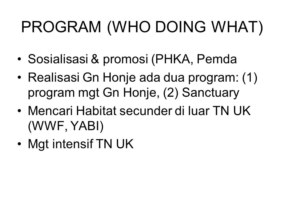 PROGRAM (WHO DOING WHAT)