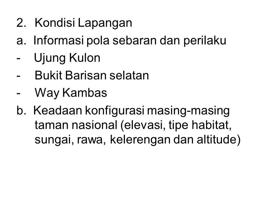Kondisi Lapangan a. Informasi pola sebaran dan perilaku. - Ujung Kulon. Bukit Barisan selatan.