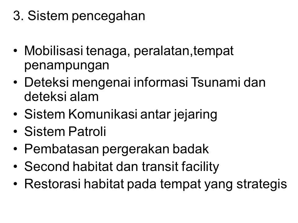 3. Sistem pencegahan Mobilisasi tenaga, peralatan,tempat penampungan. Deteksi mengenai informasi Tsunami dan deteksi alam.