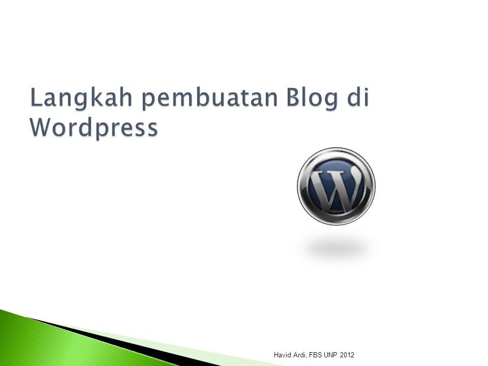 Langkah pembuatan Blog di Wordpress