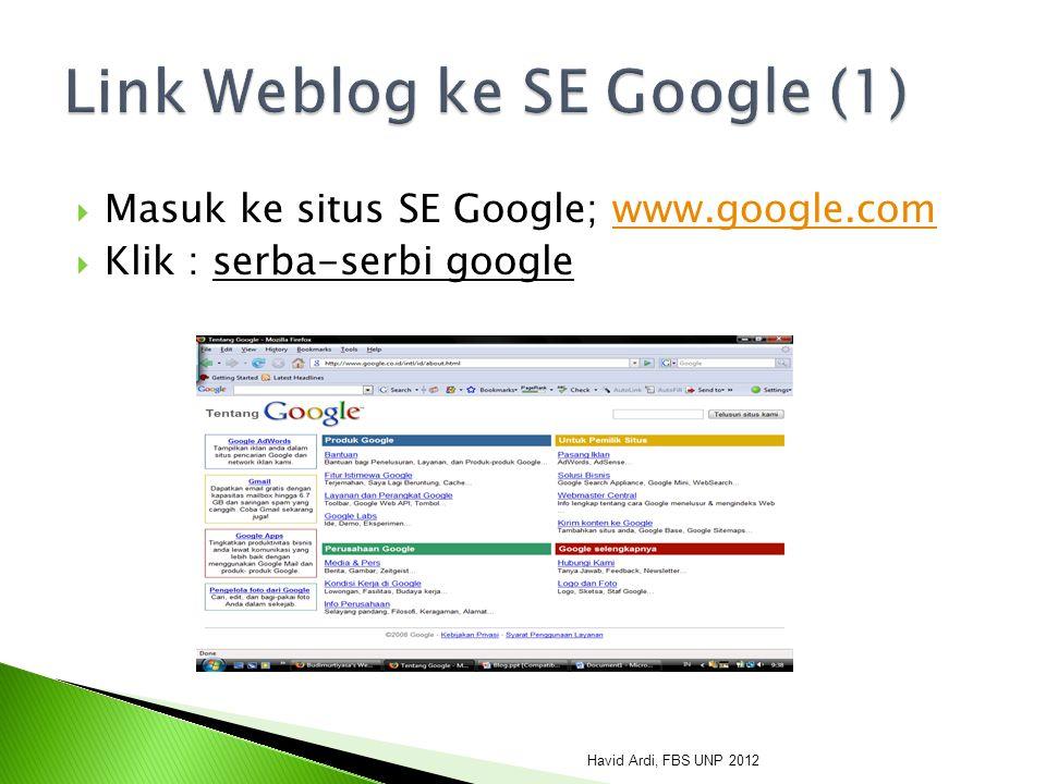 Link Weblog ke SE Google (1)